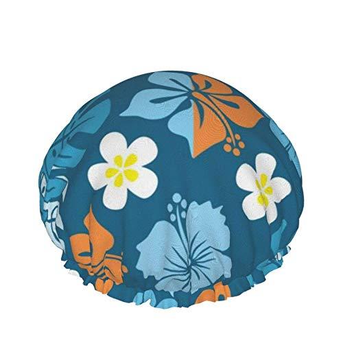 Fiori blu Foglia di tartaruga Acquerello Modello Cool Tiger Face Cuffie da doccia impermeabili, Cuffia elastica riutilizzabile per cape