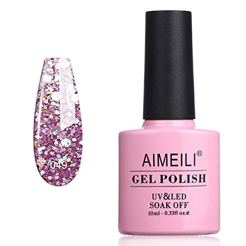 AIMEILI Smalto Semipermente per Unghie in Gel UV LED Smalti per Unghie Colori per Manicure con Brillantini - Princess (049) Glitter 10ml