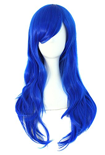 MapofBeauty 70cm/ 28 Pollice Lungo Ricci Donna Ricci Parrucche (Blu)