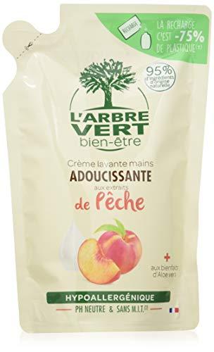 L'Arbre Vert Bien-être - Ricarica per sapone in crema per le mani alla pesca bio, con Aloe Vera bio ed estratti di pesca bio, set di 6 confezioni