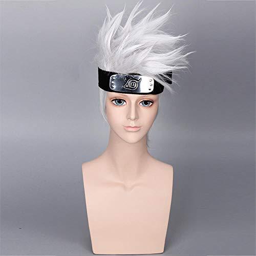Parrucca anime bandiera legno parrucca kakashi parrucca anime grigio argento , bianco argento