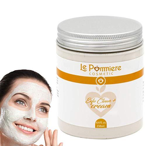 Maschera esfoliante viso 250ml con acido ialuronico. Argilla purificante bianca naturale per pelli grasse o miste. Uomo e donna Riduce i punti neri, i brufoli, i pori aperti e i brufoli dell'acne