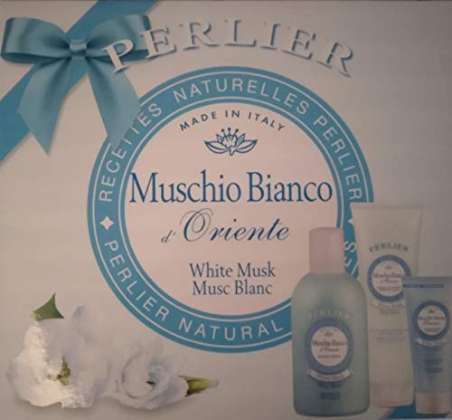 Perlier Confezione Regalo Muschio Bianco d'Oriente (Bagno Crema 500 + Crema Idratante Corpo 250 + Crema Mani Nutriente 100)