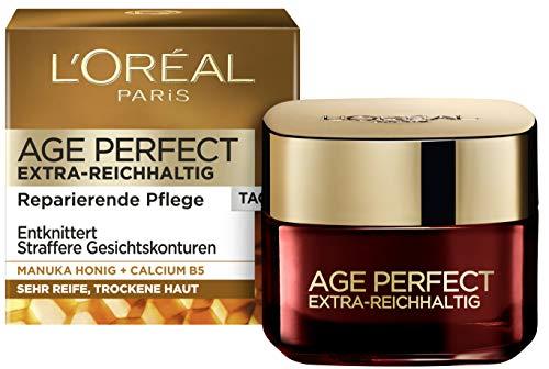 L'Oréal Paris - Crema giornaliera Age Perfect Extra Ricca, anti-invecchiamento, anti-rughe e tonificante, per pelli molto mature e secche, con miele di Manuka e calcio B5, 50 ml