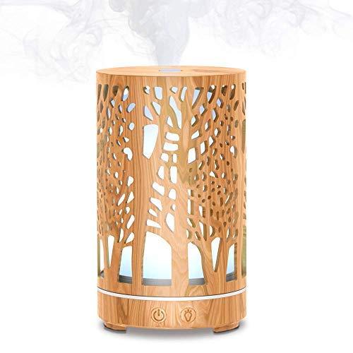 MEIDI Diffusore di oli essenziali ultrasuoni,200ML umidificatore aroma diffusore in legno,7 colori LED orientabili Vaporizzatore per Casa, ufficio, yoga