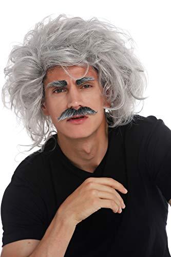 WIG ME UP - 31999-FR68A Parrucca Carnevale Halloween Einstein Scienziato Pazzo Nonno Professore Grigio Scompigliata Baffi