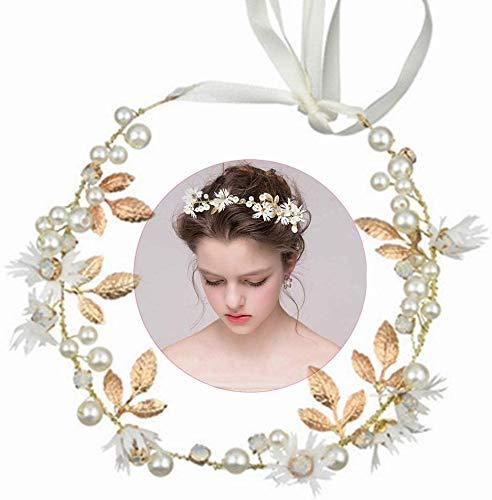 INTVN Copricapo da Sposa con Strass per Capelli Corona di Fiori Archetto Ghirlanda Floreale per Il Matrimonio