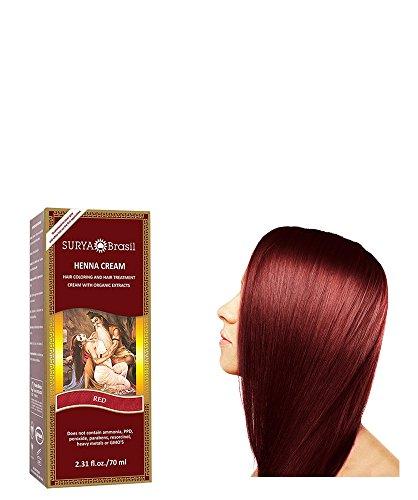 Surya Henna–Trattamento e colorazione per capelli–Brasil Cream–Rosso–70ml