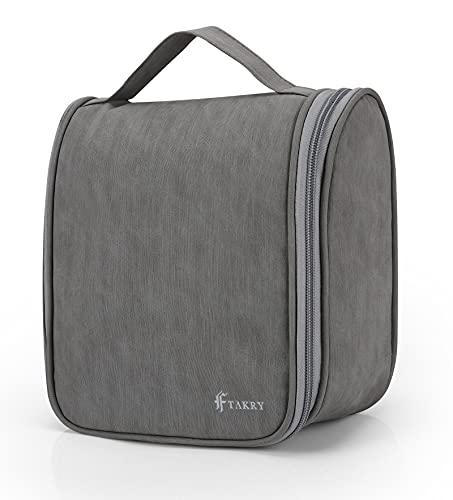 Beauty Case da Viaggio Impermeabile Donna Uomo Borsa da Toilette Beauty Case Grande Impermeabile, Gancio in Metallo per Appendere Borsa da Viaggio Cosmetica Wash Bag (Gray)