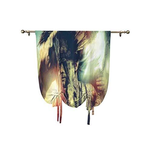 Tatuaggio Decor Tenda romana, con ali d'angelo, teschio e cuore pieno di sangue simbolo di vero amore, tenda oscurante, termica, 80 x 150 cm, per decorazione della casa, rosso bianco e nero