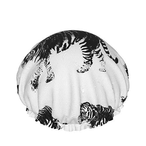 Tiger () Cuffia per la doccia, Cappelli per capelli da bagno, Doppio strato impermeabile per docce da bagno Cappello per donna Uomo, Sp