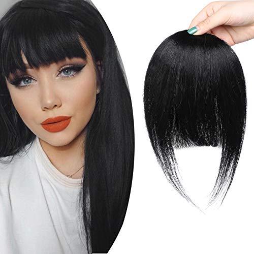 SEGO Frangia Clip Capelli Veri Frangetta Fascia Unica Extension Singole 100% Remy Human Hair Bang Piena Lisci Naturali 25g #1 Jet Nero