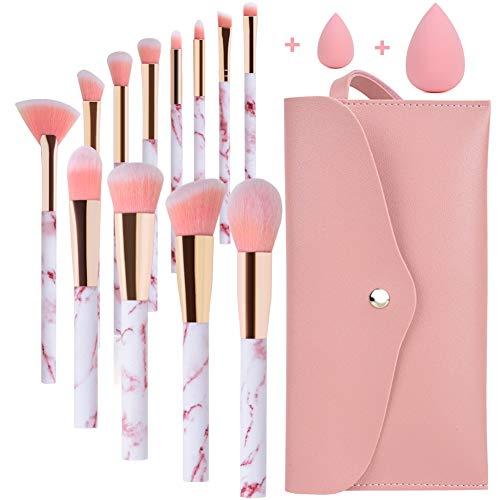 Pennelli Make Up Start Makers Professional 12Pcs Set di pennelli per trucco in marmo rosa con correttore di fondotinta Blush ombretto Pennelli per trucco Beauty Blender e borsa per il trucco