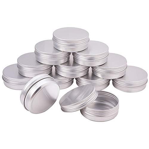 PandaHall Elite 60ml 30pcs Scatola di Alluminio Rotondi Argento contenitori Scivolo Vuoto contenitori con Coperchio a Vite per balsamo Le Labbra Artigianato Cosmetici Candele contenitori da Viaggio