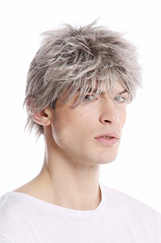 WIG ME UP - GFW1169-51 Parrucca Uomo Corta Giovanile Disinvolta Wild Arruffata Alla moda Grigio Grigio chiaro