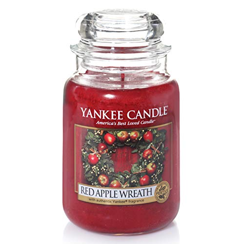 Yankee Candle Candela profumata in giara grande | Red Apple Wreath | Durata Fino a 150 Ore