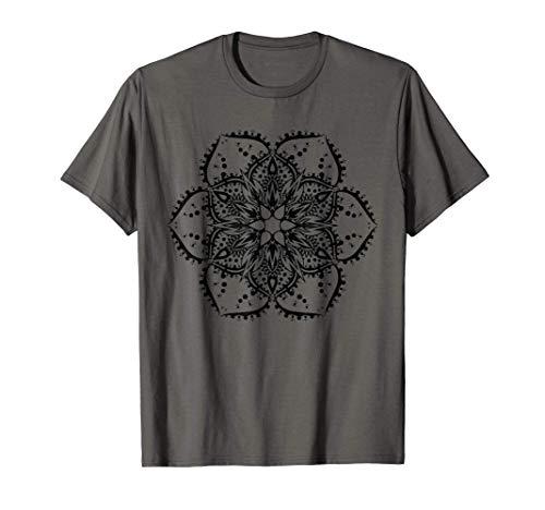 Tatuaggio Hippie Fiore Di Loto Nero Mandala Pace Maglietta