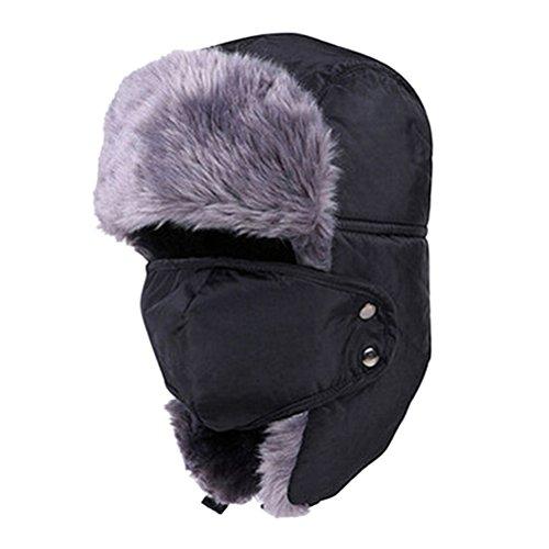 ROSENICE Ushanka Cappello Cappelli di Sci di Earflap Aviatore Ushanka Trapper con Maschera cap Hood(Black)