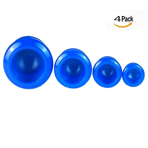 OFKPO 4 Pezzi Massaggio Cupping - Kit Coppettazione Massaggio per Indolenzimento Muscolare, Sollievo dal Dolore (Blu)