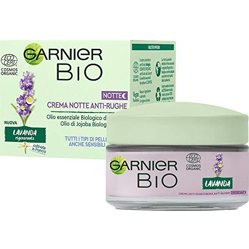 Garnier C6387500 Bio Crema Notte Antirughe Rigenerante alla Lavanda, Formula Arricchita con Oli di Argan e Jojoba Biologici, 50 Ml, Confezione da 1