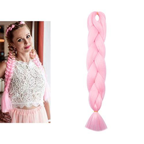 Elailite Treccine Extension Treccia Finta per Capelli Lunghi 60cm Ombre Braiding Hair Finti Fibre una Ciocca 100g, Rosa