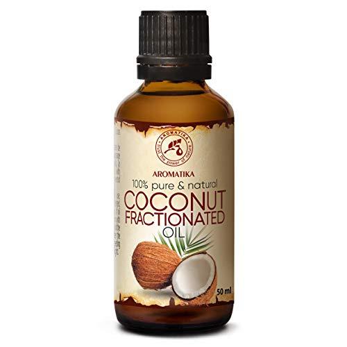 Olio di Cocco Frazionato - 50ml - Cocos Nucifera - Olio Vegetale Puro - Olio Vettore per Oli Essenziali - Olio Idratante Corpo - Cura del Viso - Olio per Capelli - Olio da Bagno - Olio per Massaggi