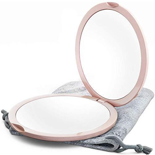 Ingrandimento Specchio Compatto per Borse con Ingrandimento 10X - Specchio da Viaggio a due Lati Trucco Specchio da Viaggio, 4 pollici Specchio Tascabile Piccolo, o Specchio da Borsa (Millennial Pink)