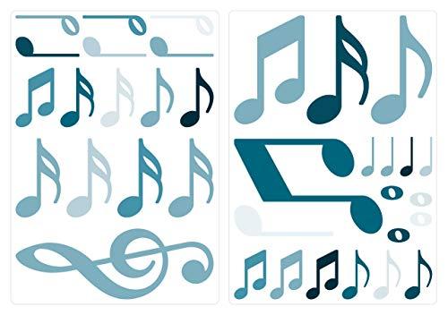 dekodino® Adesivo murale nota musicale petrolio set blu vivaismo decorazione