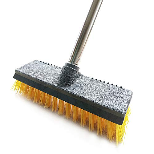 Iamagie Scopa,Spazzola per pavimenti con manico lungo 47,2 cm, in acciaio inox, con setole rigide gialle per interni ed esterni, per pulire bagno, cucina, patio, piastrelle, pavimenti in legno