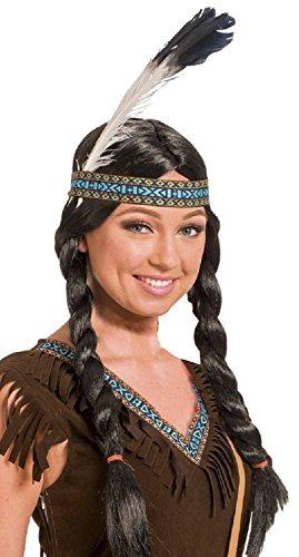 Parrucca da nativi americani con trecce e piume