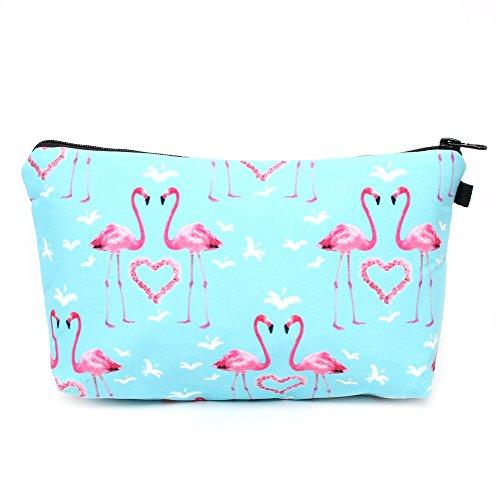 Leah's fashion® Borsa da toilette Beauty Make Up Pouch Case Borsetta da Viaggio Make Up Organizzare (flamingos)