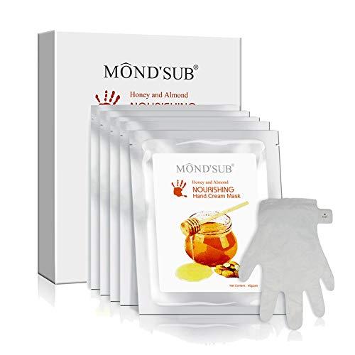 5 paia di Anti-Aging mascherina della mano - Nuritious miele e mandorla Miglior idratante manuali Maschera Nail - Guanti migliori idratanti per le mani asciutte per Nutriente, emolliente