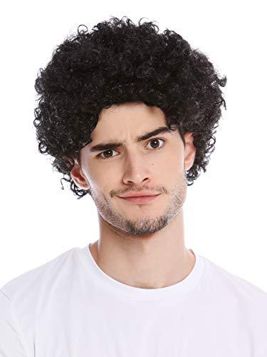 WIG ME UP - PW0186-P103 Parrucca Uomo Donna Carnevale Corta Ricci Crespi Afro Nero Mop