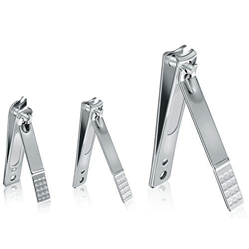 Tagliaunghie in acciaio inox, 3 pezzi, tagliaunghie e punta in metallo obliqua per unghie, tagliaunghie per uomini e donne