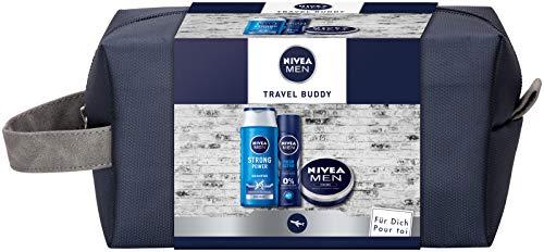 NIVEA MEN Travel Buddy - Set regalo per uomini con deodorante spray, shampoo per la cura del viso, mani e corpo e beauty case
