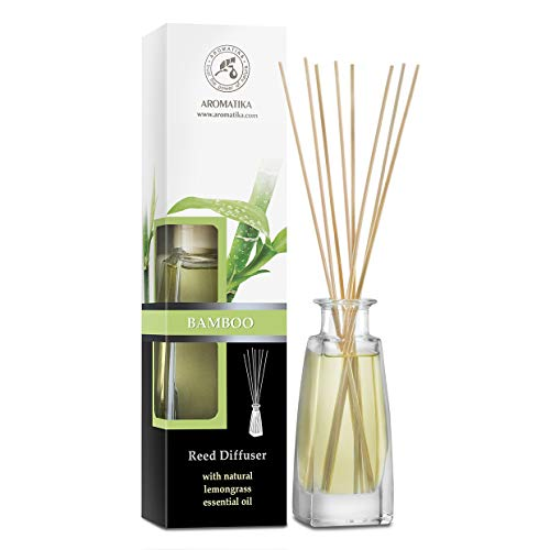 Diffusore Profumato per Ambiente Bamboo 100ml con 8 Bastoncini di Bambù - Fragranza Intensa e Duratura - Senza Alcool - Aromatizzatore d'Aria per Interni - Reed Diffuser Bamboo