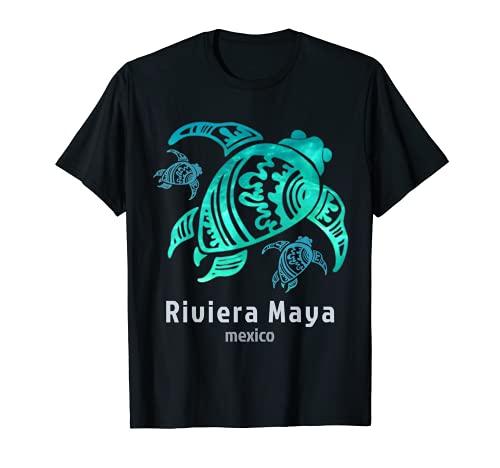 Riviera Maya Messico Sea Blue Tribal Turtle Maglietta