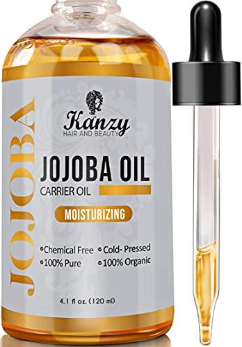Kanzy Olio di Jojoba Puro Biologico 100% Naturale Pressato a Freddo 120ml Non Raffinato Vegan Jojoba Oil Trattamento per Capelli e Cuoio capelluto Perfetto Idratante per la Pelle
