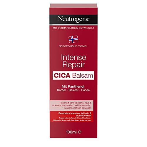 Neutrogena Intense Repair Cica Balsamo con pantenolo per corpo, viso e mani, lozione per il corpo, crema viso e crema per le mani in 100 ml