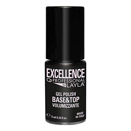 Excellence By Layla - Base e Top Coat - Smalto 2 in 1 per Semipermanente Professionale - Ad Azione Volumizzante, Livellante e Rimpolpante - Step 3 - Formato da 5ml