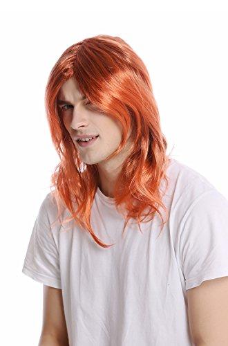 WIG ME UP -90997-ZA24ATZA6 Parrucca Donna Uomo Carnevale Lunga Altezza Spalle Liscia Riga Mix Dorato Arancione-Rosso-Castano