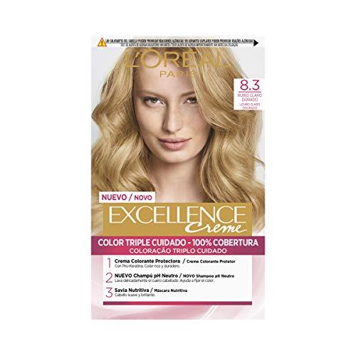 L'Oréal Expert Tintura per Capelli, Excellence Creme, 200 gr, 8.3 Rubio Claro Dorado