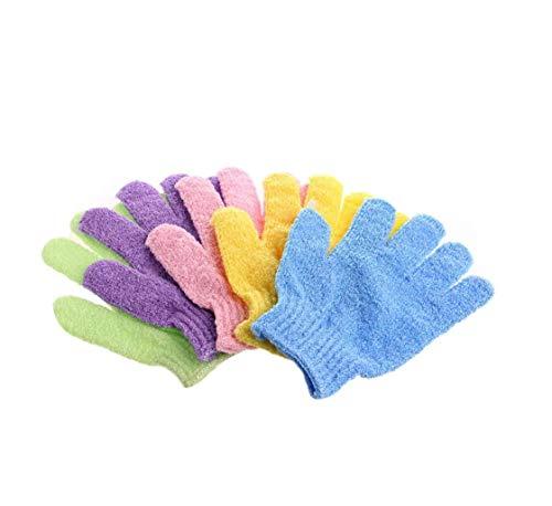 4 paia doccia esfoliante bagno guanti Nylon doccia guanti Scrub esfoliante corpo per il bagnarsi, Colore casuale