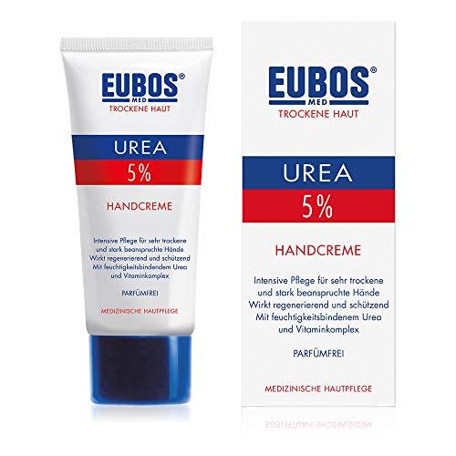 EUBOS, crema per la pelle secca con Urea al 5%, crema per le mani, 75 ml