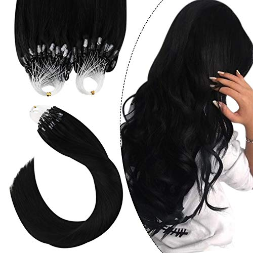 Ugeat Extension Microring Capelli Veri 14Pollici/35cm Extension Capelli Veri Con Microring 1g/Filo 50Grammo Extension Capelli Veri Anellini #1 Nero Jet Microring Hair Extensions
