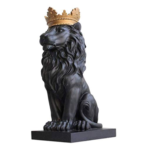CHNOI Lion Sculpture - Royal King Corona Leone Statua Figurine Tatuaggi Leone Scultura (Color : Black)