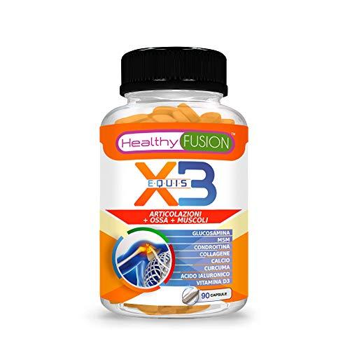 Glucosamina + Condroitina + MSM + Curcuma + Collagene Idrolizzato + Acido Ialuronico + Calcio + Vitamina D3 | Elimina il dolore e l'infiammazione | Potente antinfiammatorio | 90 capsule