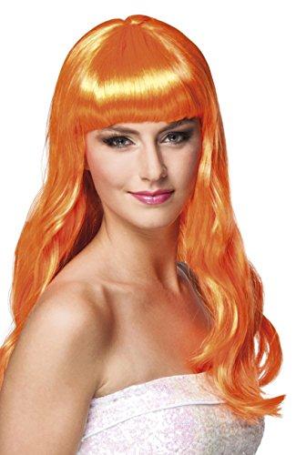 Boland 85873 - Parrucca Chique Lunga con Frangetta, Arancione