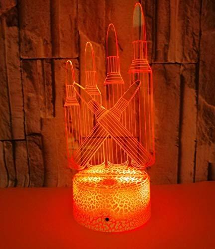 JFAFJ 3D Led Light Notte a 7 Colori Illusion Lighting Lampada Rossetto da Tavolo Decorazioni per la Casa Regali per la Camera dei Bambini