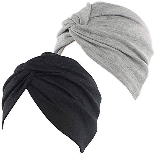 BEIFON 2 Pezzi Turbante Donna Berretto di Cotone Morbidi Tappi Copricapo Chemio Turbanti Cuffia Cappello Elastico Foulard per Capelli per Perdita di Capelli